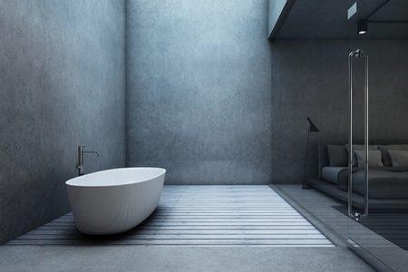 Imitacja betonu na ścianie w łazience.